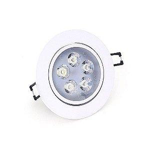 Spot Led 5W Dicróica de Embutir Redondo Direcionável Ø11,0cm - Luz Branca Fria e Quente - Aro Branco