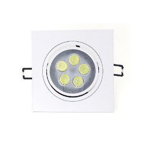 Spot Led 5W Dicróica de Embutir Quadrado Direcionável 11x11cm - Luz Branca Fria e Quente - Aro Branco