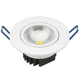 Spot Led Cob 5W Dicróica de Embutir Redondo Direcionável Ø8,8cm - Luz Branca Fria e Quente - Aro Branco