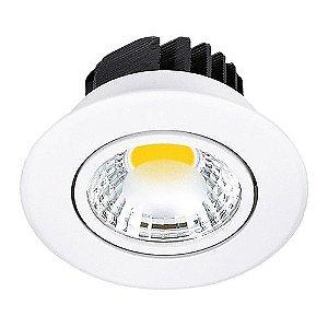 Spot Led Cob 5W de Embutir Redondo Direcionável Ø8,6cm - Luz Branca Fria e Quente - Aro Branco