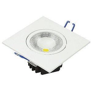 Spot Led Cob 5W Dicróica de Embutir Quadrado Direcionável 8,8x8,8cm - Luz Branca Fria e Quente - Aro Branco