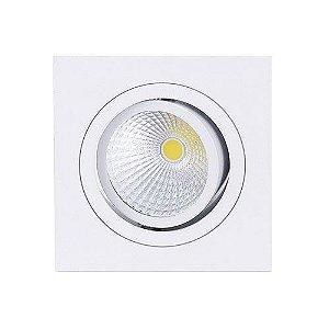 Spot Led Cob 7W Par 20 de Embutir Quadrado Direcionável 9,2x9,2cm - Luz Branca Fria e Quente - Aro Branco