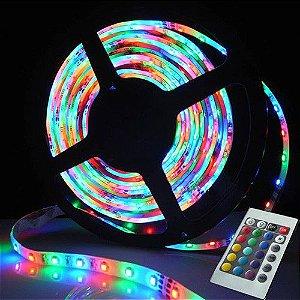 Fita Led 3528 4,8W/M RGB com Controle e Silicone Uso Externo IP65 - Rolo 5 Metros - Luz Colorida