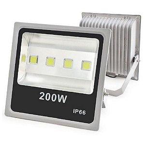 Refletor Led 200W Slim Cinza IP66 - Luz Branca Fria