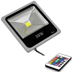 Refletor Led 30W Slim Cinza IP66 - Luz RGB Colorida