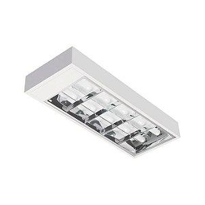 Luminária Tubular Led 20W Tipo Calha Aletada de Sobrepor 25x70cm Completa