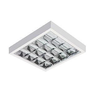 Luminária Tubular Led 40W Tipo Calha Aletada de Sobrepor 65x65cm Completa