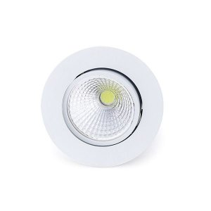 Spot Led Cob 12W Par 38 de Embutir Redondo Direcionável Ø10,8cm - Luz Branca Fria e Quente - Aro Branco