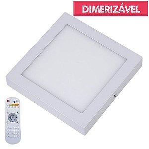 Plafon Led 18W Dimerizável com 4 Cores de Luz de Sobrepor Slim Quadrado 22x22cm - Luz 2.800K à 6.500K