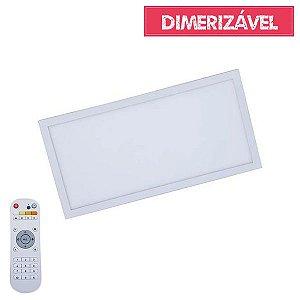 Plafon Led 30W Dimerizável com 4 Cores de Luz de Sobrepor Slim Retangular 30x60cm - Luz 2.800K à 6.500K