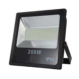 Refletor Led 200W SMD Slim Preto IP65 - Luz Branca Fria