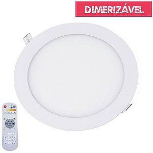 Plafon Led 18W Dimerizável com 4 Cores de Luz de Embutir Slim Redondo Ø22cm - Luz 2.800K à 6.500K