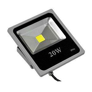 Refletor Led 20W Slim Cinza IP66 - Luz Branca Fria e Quente