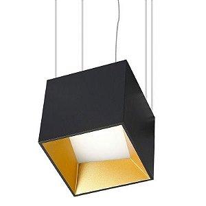 Pendente Led 9W Alumínio Cor Preta 10,5x10,5cm - Luz Branca Quente