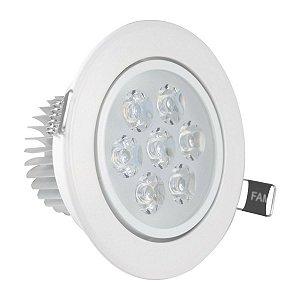 Spot Led 7W Dicróica de Embutir Redondo Direcionável Ø11,0cm - Luz Branca Fria e Quente - Aro Branco