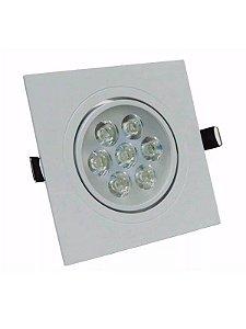 Spot Led 7W Dicróica de Embutir Quadrado Direcionável 11x11cm - Luz Branca Fria e Quente - Aro Branco