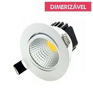 Spot Led Cob 7W de Embutir Dimerizável Redondo Direcionável Ø10,5cm - Luz Branca Fria e Quente