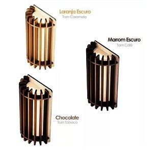 Arandela Led 6W de Madeira uso Interno 9x16cm - Cor Chocolate, Marrom ou Caramelo