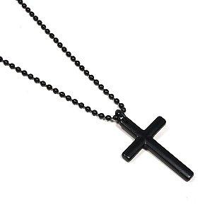 Colar Masculino Alongado Cruz Negra
