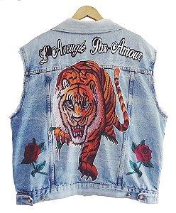 Colete Jeans Customizado - Tigre