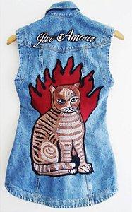 Colete Jeans Cat - Customizado