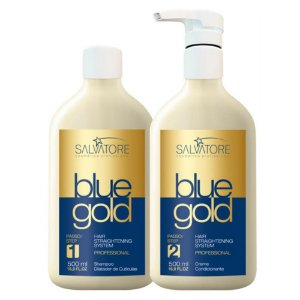 Kit Escova Progressiva Blue Gold Sem Formol 500ML - Salvatore