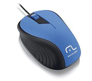 Mouse Multilaser Emborrachado Azul E Preto Com Fio Usb - MO226