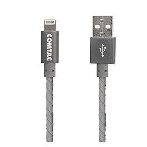 Cabo Lightning Reforçado 1 Metro Comtac USB 2.0 Compatível iPhone iPad iPod Cinza