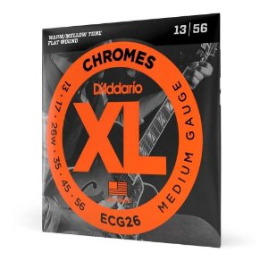 Encordoamento Guitarra 013 Daddario Flatwound Ecg26 Chromes