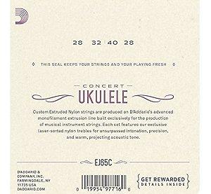 Encordoamento P/ Ukulele - Concert- Daddario Ej65c Jg Corda