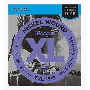 "Encordoamento Daddario 011 Guitarra Exl115b +1a Corda ""mi"" Extra"
