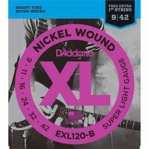 "Encordoamento Daddario 09 Guitarra Exl120b +1a Corda ""mi"" Extra"