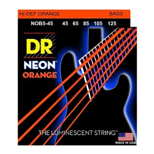 Encordoamento baixo 5 cordas DR STRINGS NEON ORANGE 045