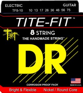 Encordoamento guitarra 8 cordas 010 DR STRINGS TF8-10 tite
