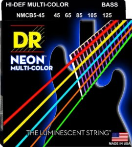 Encordoamento baixo 5 cordas DR STRINGS MULTICOLOR 045 color