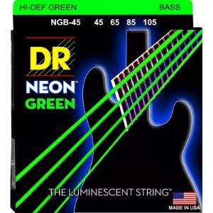 Encordoamento baixo 4 cordas DR STRINGS NEON GREEN 045 NGB45