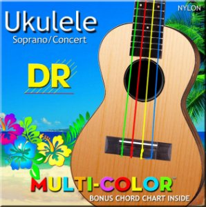 Encordoamento ukulele colorido DR STRINGS UMCSC -Made in USA
