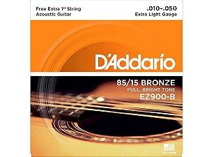 Encordoamento Daddario 010 EZ900 B violão aço c/ NF bronze