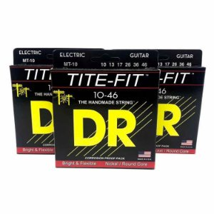 3 Encordoamento Guitarra 010 Dr Strings - Tite Fit Mt10 Kit