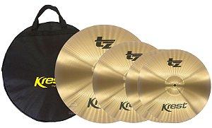 Kit set pratos Bronze 14 16 20 c/ bag - Krest TZ TZSET1B