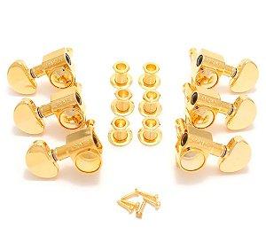 Tarraxa Grover 102 Rotomatic 3x3 Dourada 14:1 -jogo 102g