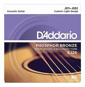Encordoamento DAddario EJ26 violão 011 aço phosphor bronze