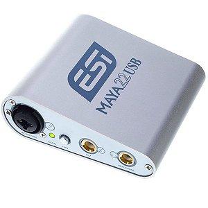 Interface USB 2 canais ESI MAYA22 24bit 48v mic + P10 + rca