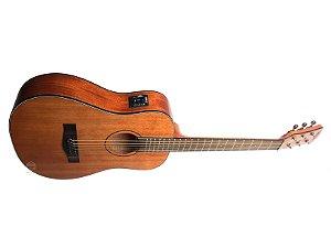 Violão elétrico baby mini MALIBU Mogno fosco madeira