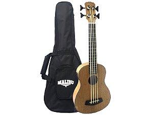 Ukulele bass 4 cordas Malibu madeira mogno natural com capa
