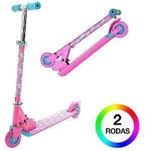 Patinete Infantil Rosa Rodas Com Luzes de Led BBR Toys B0004