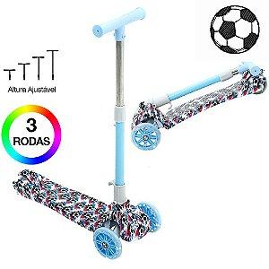 Patinete Bola de Futebol Infantil de 3 Rodas com Led na Roda