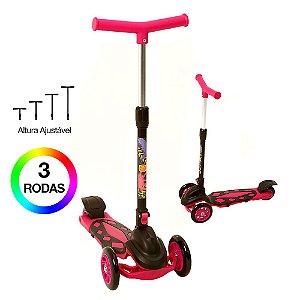Patinete 3 Rodas Infantil Pink com Ajuste de Altura Dm Toys