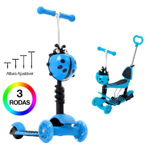 Patinete Infantil Joaninha Azul para Meninos 2 em 1 DM Toys