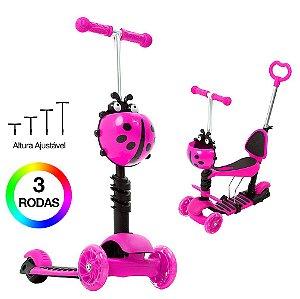 Patinete Infantil Joaninha Rosa para Meninas 2 em 1 DM Toys